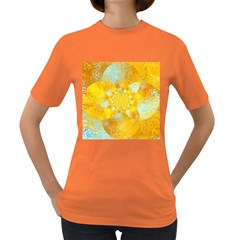 Gold Blue Abstract Blossom Women s Dark T Shirt by designworld65