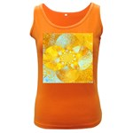 Gold Blue Abstract Blossom Women s Dark Tank Top Front