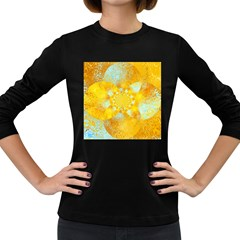 Gold Blue Abstract Blossom Women s Long Sleeve Dark T Shirts by designworld65