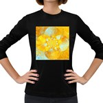Gold Blue Abstract Blossom Women s Long Sleeve Dark T-Shirts Front