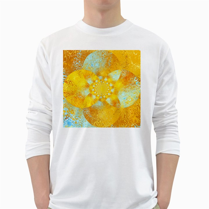 Gold Blue Abstract Blossom White Long Sleeve T-Shirts