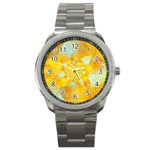 Gold Blue Abstract Blossom Sport Metal Watch Front