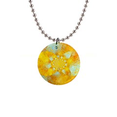 Gold Blue Abstract Blossom Button Necklaces by designworld65