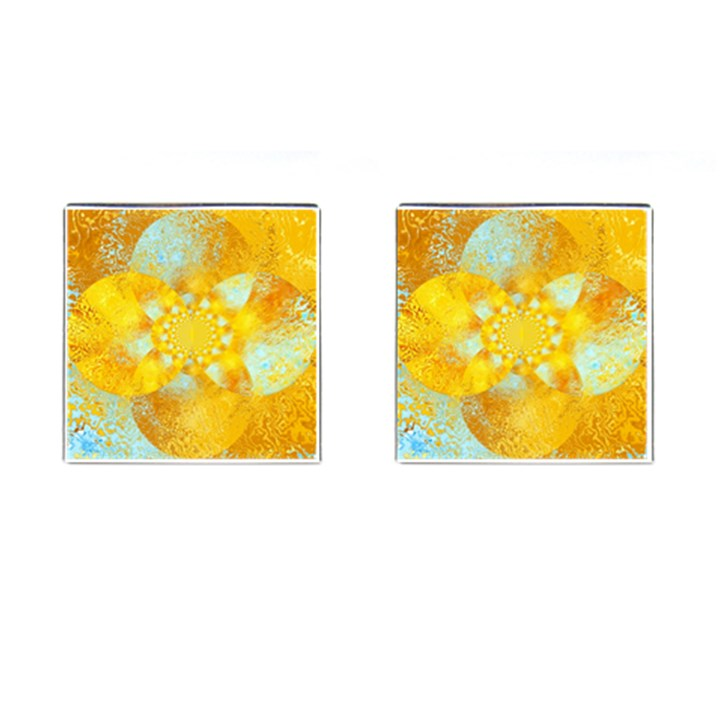 Gold Blue Abstract Blossom Cufflinks (Square)
