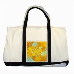 Gold Blue Abstract Blossom Two Tone Tote Bag by designworld65