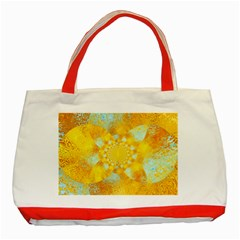 Gold Blue Abstract Blossom Classic Tote Bag (red) by designworld65