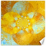 Gold Blue Abstract Blossom Canvas 20  x 20