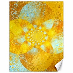 Gold Blue Abstract Blossom Canvas 18  X 24