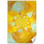 Gold Blue Abstract Blossom Canvas 24  x 36