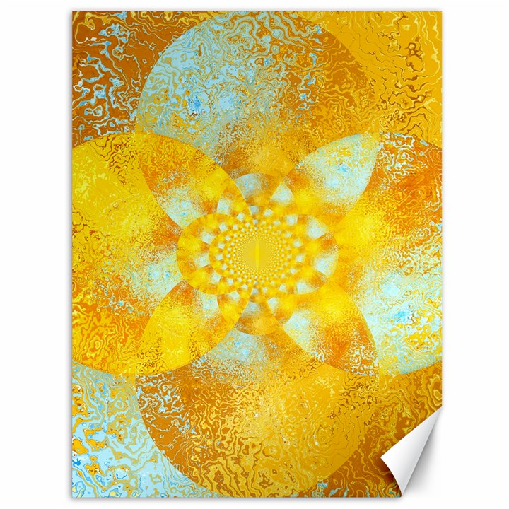 Gold Blue Abstract Blossom Canvas 36  x 48