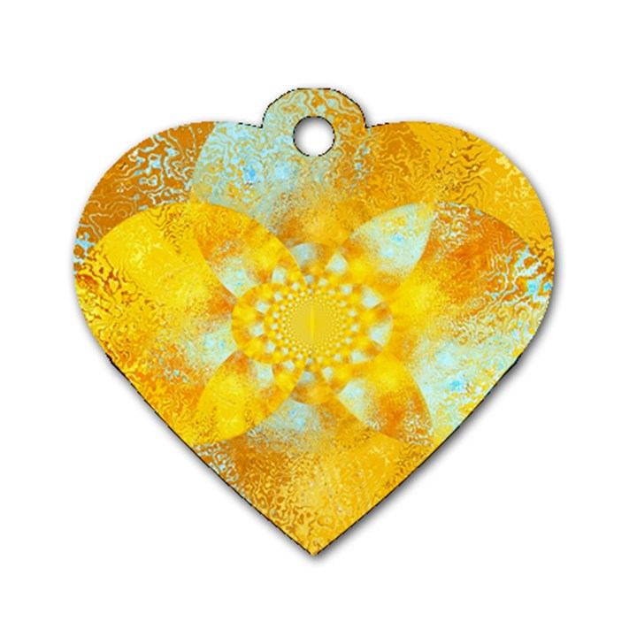 Gold Blue Abstract Blossom Dog Tag Heart (One Side)