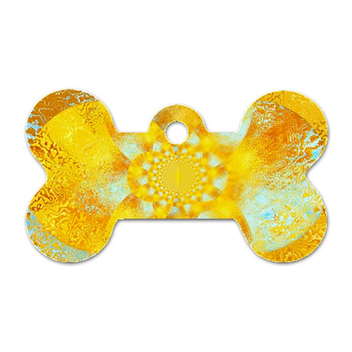 Gold Blue Abstract Blossom Dog Tag Bone (Two Sides)