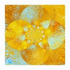 Gold Blue Abstract Blossom Medium Glasses Cloth (2 Side) by designworld65