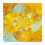 Gold Blue Abstract Blossom Medium Glasses Cloth (2-Side)