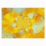 Gold Blue Abstract Blossom Large Glasses Cloth