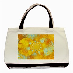 Gold Blue Abstract Blossom Basic Tote Bag (two Sides)