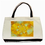 Gold Blue Abstract Blossom Basic Tote Bag (Two Sides) Back