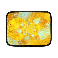 Gold Blue Abstract Blossom Netbook Case (small)  by designworld65
