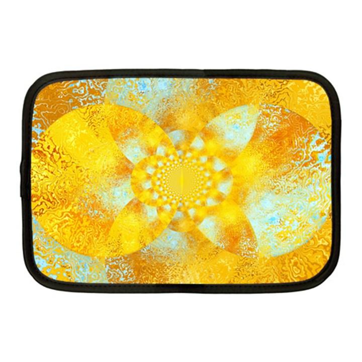 Gold Blue Abstract Blossom Netbook Case (Medium)