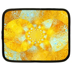 Gold Blue Abstract Blossom Netbook Case (large) by designworld65