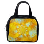 Gold Blue Abstract Blossom Classic Handbags (One Side)