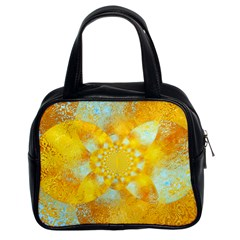 Gold Blue Abstract Blossom Classic Handbags (2 Sides)
