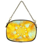 Gold Blue Abstract Blossom Chain Purses (Two Sides)