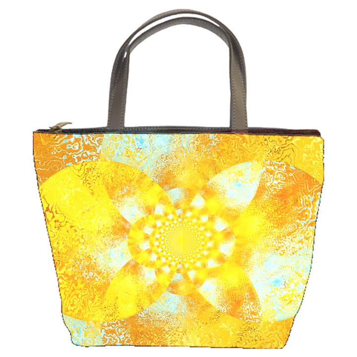 Gold Blue Abstract Blossom Bucket Bags