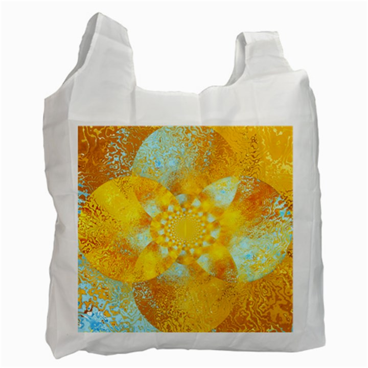 Gold Blue Abstract Blossom Recycle Bag (Two Side)