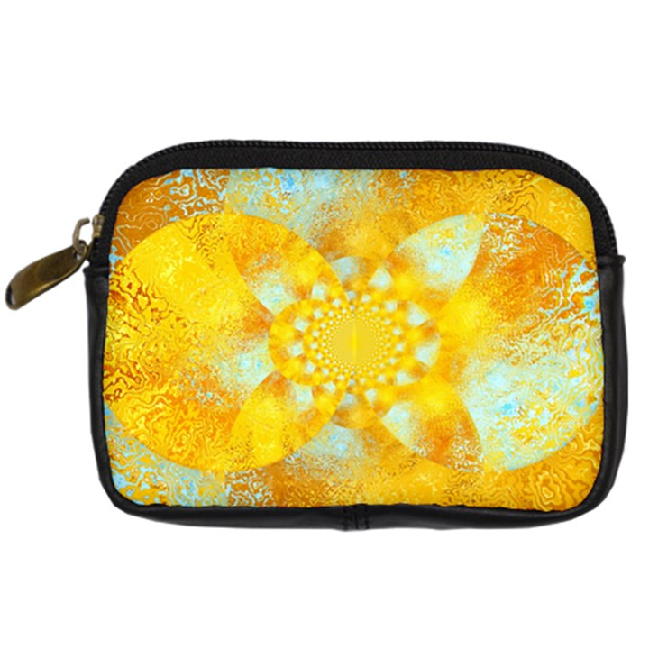 Gold Blue Abstract Blossom Digital Camera Cases