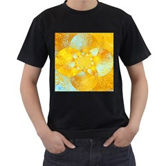 Gold Blue Abstract Blossom Men s T Shirt (black) by designworld65