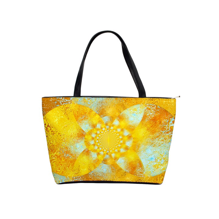 Gold Blue Abstract Blossom Shoulder Handbags