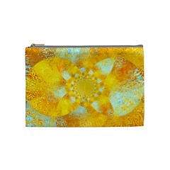 Gold Blue Abstract Blossom Cosmetic Bag (medium)