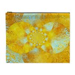 Gold Blue Abstract Blossom Cosmetic Bag (XL) Front