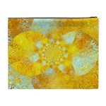 Gold Blue Abstract Blossom Cosmetic Bag (XL) Back