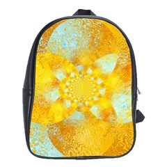 Gold Blue Abstract Blossom School Bags(large)  by designworld65