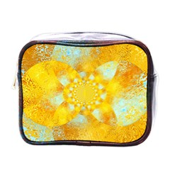 Gold Blue Abstract Blossom Mini Toiletries Bags by designworld65