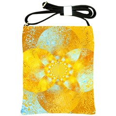 Gold Blue Abstract Blossom Shoulder Sling Bags by designworld65
