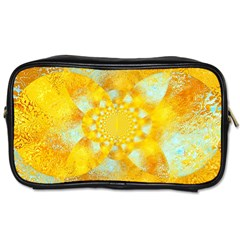 Gold Blue Abstract Blossom Toiletries Bags 2 Side
