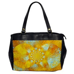 Gold Blue Abstract Blossom Office Handbags by designworld65