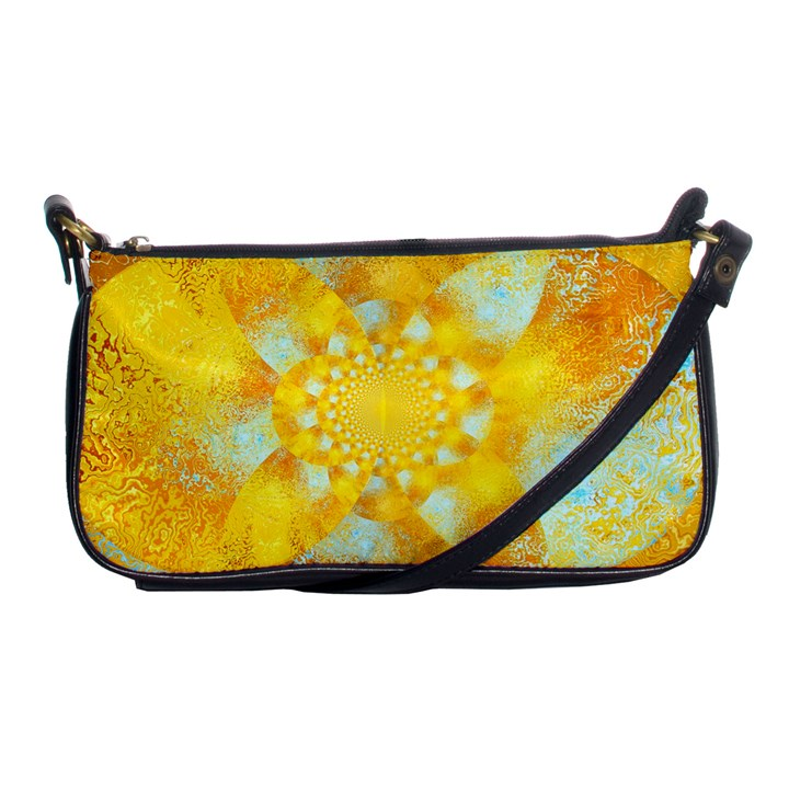 Gold Blue Abstract Blossom Shoulder Clutch Bags