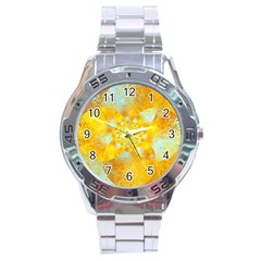 Gold Blue Abstract Blossom Stainless Steel Analogue Watch by designworld65