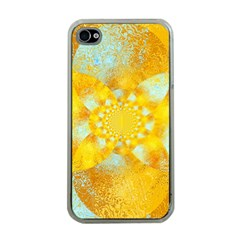 Gold Blue Abstract Blossom Apple Iphone 4 Case (clear) by designworld65