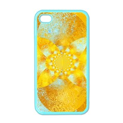 Gold Blue Abstract Blossom Apple Iphone 4 Case (color)