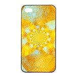 Gold Blue Abstract Blossom Apple iPhone 4/4s Seamless Case (Black) Front