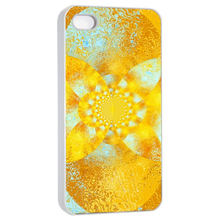 Gold Blue Abstract Blossom Apple iPhone 4/4s Seamless Case (White)