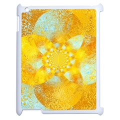 Gold Blue Abstract Blossom Apple Ipad 2 Case (white) by designworld65