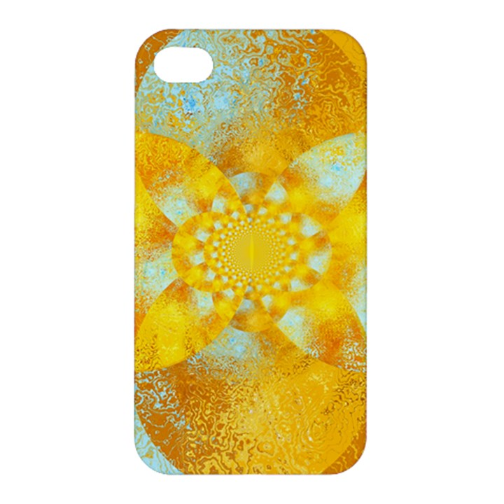 Gold Blue Abstract Blossom Apple iPhone 4/4S Hardshell Case