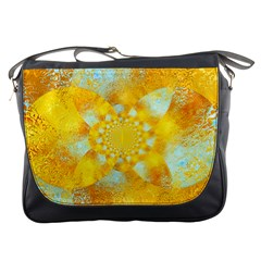 Gold Blue Abstract Blossom Messenger Bags by designworld65