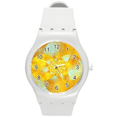Gold Blue Abstract Blossom Round Plastic Sport Watch (m) by designworld65